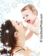 bebé, azul-blue-eyed, reír, mamá, juego