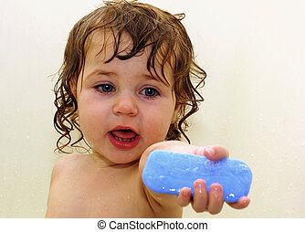 bebé, baño, y, jabón