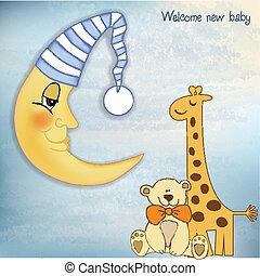bebé, bienvenida, saludos, tarjeta
