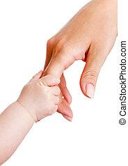 bebé, blanco, manos, aislado, madre