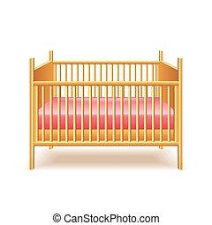 bebé, blanco, vector, aislado, cama