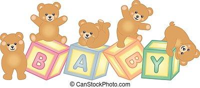 bebé bloques, oso, teddy