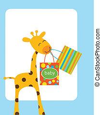 bebé, bolsas, jirafa, compras, tenencia