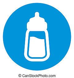 bebé, botella de leche, icono