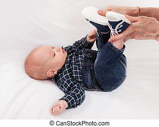 bebé, calzado