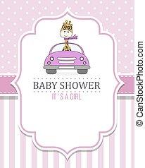 bebé, card., jirafa, coche, pp de drive, ducha, niña