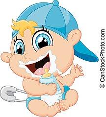 bebé, caricatura, botella, tenencia