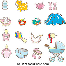 bebé, caricatura, cosa