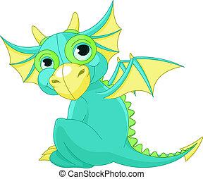 bebé, caricatura, dragón