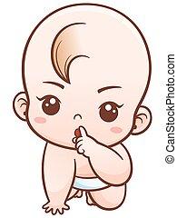 bebé, caricatura, ilustración