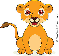 bebé, caricatura, león