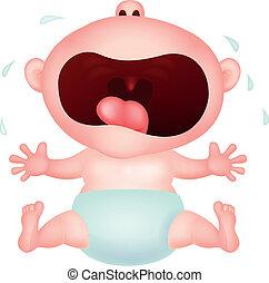 bebé, caricatura, llanto
