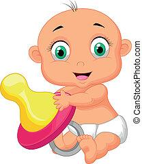 bebé, caricatura, tenencia, chupete
