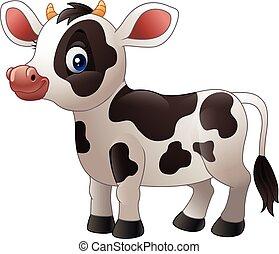 bebé, caricatura, vaca