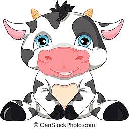 bebé, caricatura, vaca, lindo