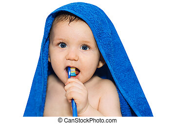 bebé, cepillado, poco, el suyo, dientes