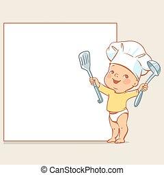 bebé, chef, poco, bandera