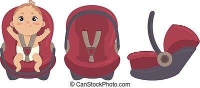 bebé, coche, seat., lado, frente, silla, seguridad