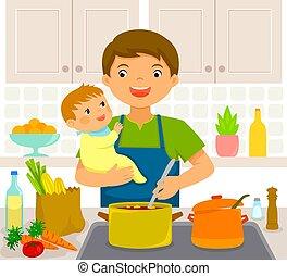 bebé, cocina, hombre