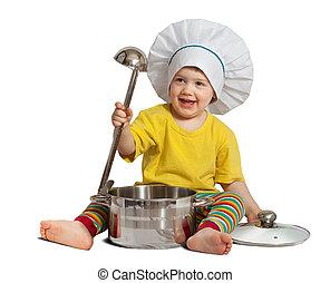 bebé, cocinero, en, toque, con, pan., aislado, encima, blanco