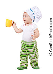 bebé, cocinero, en, toque, con, taza