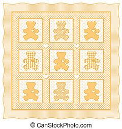 bebé, colcha, oso, amarillo, teddy