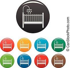 bebé, color, conjunto, cama, iconos
