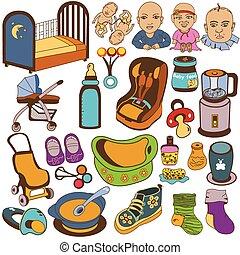 bebé, coloreado, iconos