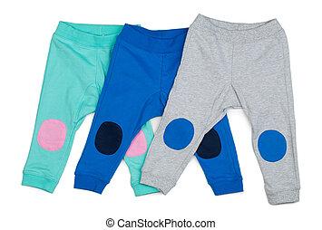 bebé, coloreado, tres, pants., algodón