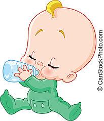 bebé con, botella