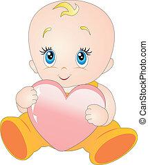 bebé con, corazón