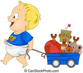 bebé con, juguetes
