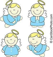 bebé, conjunto, ángeles