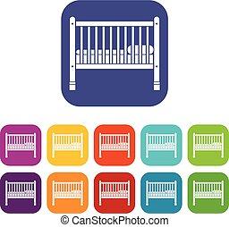 bebé, conjunto, cama, iconos