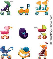 bebé, conjunto, carruaje