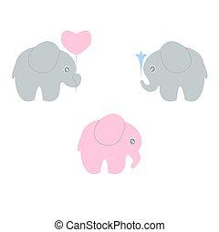bebé, conjunto, elefante