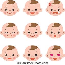 bebé, conjunto, expresión