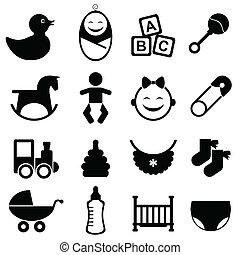 bebé, conjunto, icono