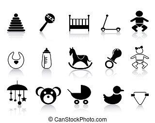 bebé, conjunto, negro, iconos