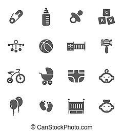 bebé, conjunto, negro, vector, iconos