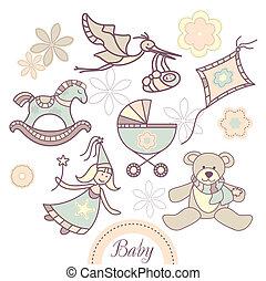 bebé, conjunto, productos