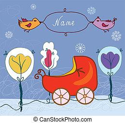 bebé, cumpleaños, cochecito de niño, invierno, tarjeta