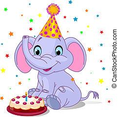 bebé, cumpleaños, elefante