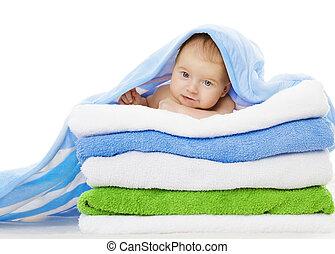 bebé, debajo, toallas, manta, limpio, niño, después, baño,...