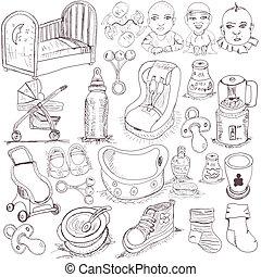 bebé, dibujado, conjunto, mano