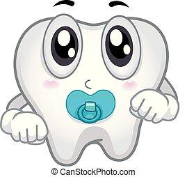 bebé, diente, ilustración, mascota