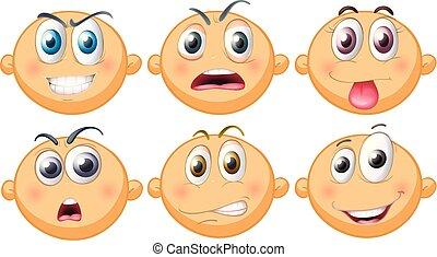 bebé, diferente, seis, emociones