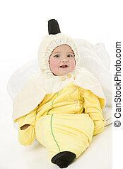 bebé, disfraz, plátano