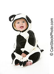 bebé, disfraz, vaca