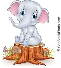 bebé, divertido, elefante, caricatura, sentado